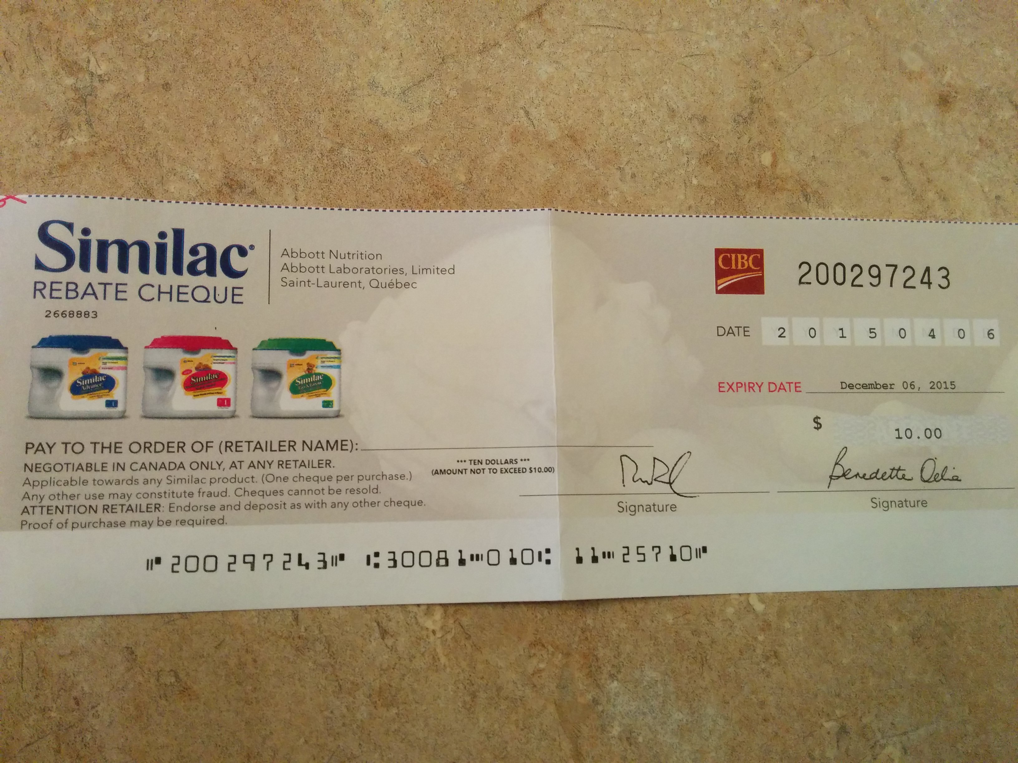 Similac cheque for trade