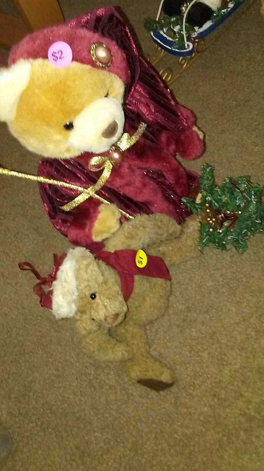 Teddy Bear tree topper $2 and teddy bear ornament $1 non-smoking home porch pick up