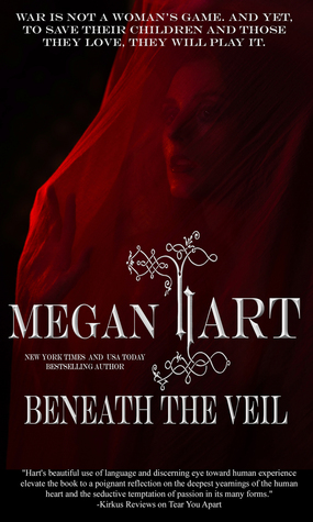 woman beneath a sheer red veil, text reading Beneath the Veil, Megan Hart