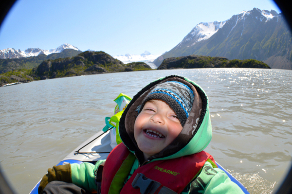 Our youngest family member kayaking at Grewingk Glacier Lake in Alaska's Kachemak Bay State Park.