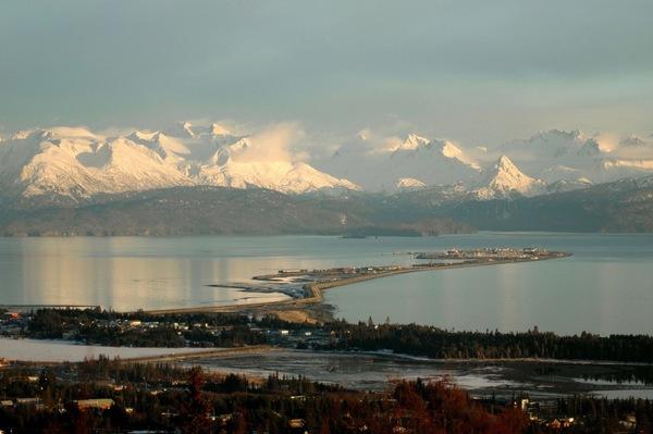 Aerial view of Kachemak Bay & Homer, Alaska.