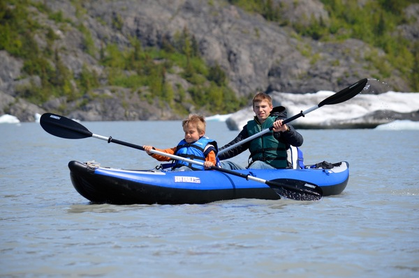 Kayaking on Grewingk Glacier Lake in Alaska's Kachemak Bay State Park.