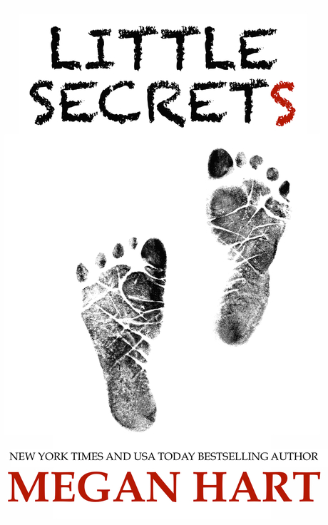white cover with black child footprints, text LITTLE SECRETS in a chalkboard font