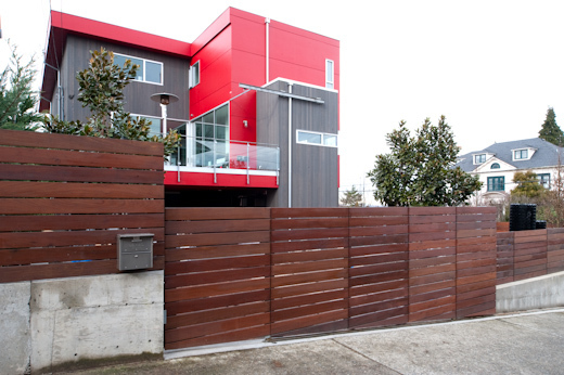 Modern wood gate in west seattle commercial gates