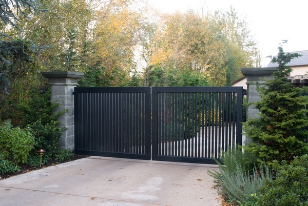 Dark wood swing gate commercial gates seattle wa