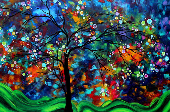 Abstract-art-original-landscape-painting-bold-colorful-design-shimmer-in-the-sky-by-madart-megan-duncanson-picture-01