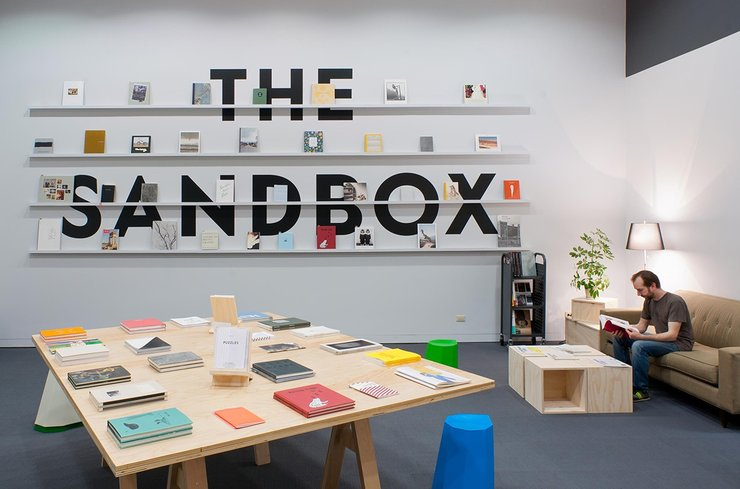 The Sandbox: At Play with the Photobook includes a temporary reading room and event space at the museum, with programming investigating the many ways that photobooks present and interpret images. Photographers Melissa Catanese and Ed Panar of Spaces Corne