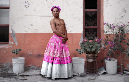 "Lukas Avendaño, a muxe contemporary performer from Mexico. In Zapotec cultures a muxe is someone who is assigned one gender at birth, but dresses as or assumes the societal role of the other binary gender, sometimes being referred to as a ""third gender."""