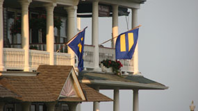 hrc flags displayed at house