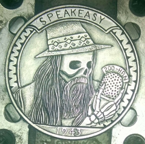 A coin made by Shane Hunter and commissioned by Sother Teague, to celebrate 200 episodes of The Speakeasy!