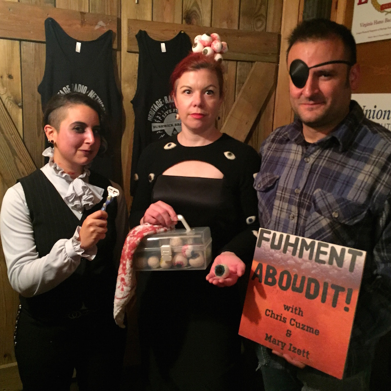 The Fuhmentaboudit crew keeping it spirited for Halloween!