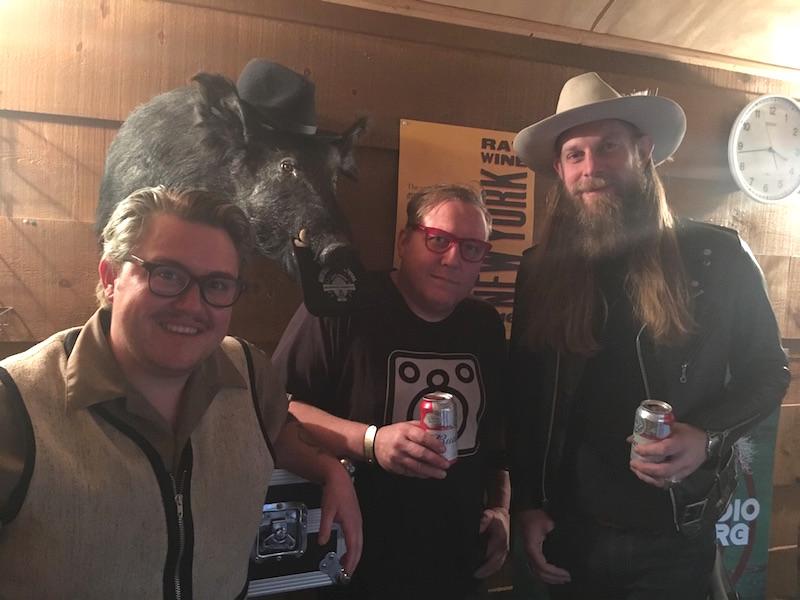 Everyman Espresso's Sam Penix (left), in the studio with Silvio the Boar, Sother, and Damon!