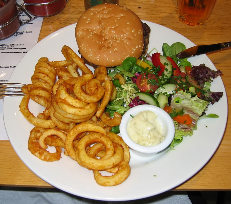 Bar-91_burger,_curly_fries_and_salad_(cropped)