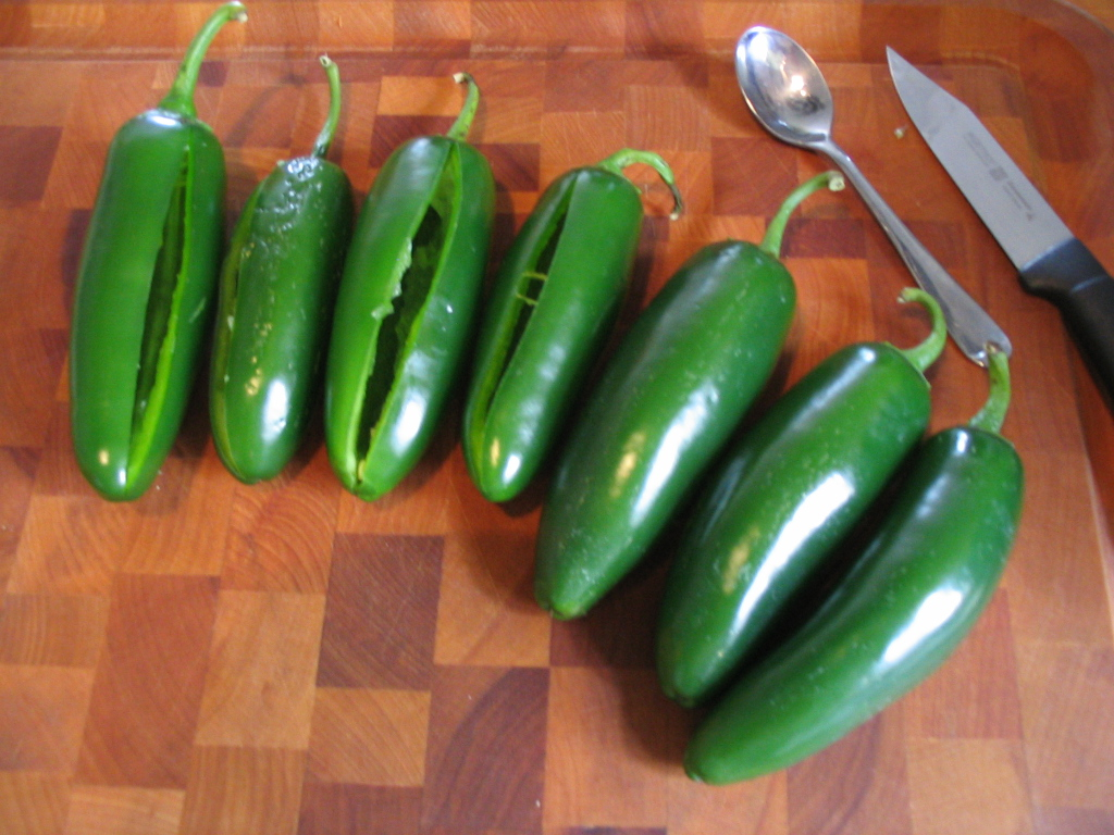 Cut A Slit In Each Jalapeno, Starting Near The Crown And Down To Just Near  The Tip Making Each Pepper A Small Coin Purse That You Can Squeeze Open To  Clean