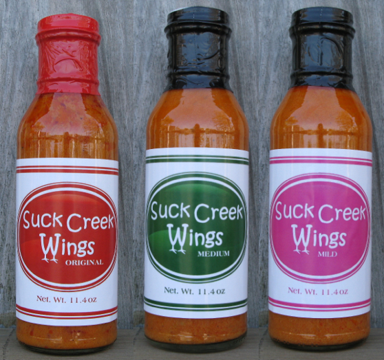 Suck Creek Wings Mild Medium Hot Sauce