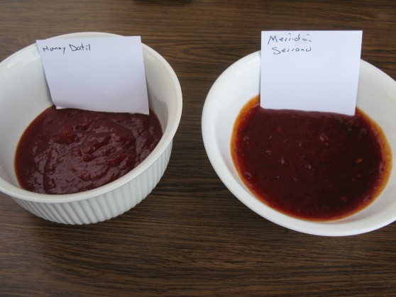thick honey datil on left and serrano on right