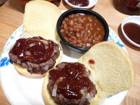 Hak's BBQ Sauce on burger sliders