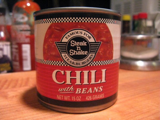 Steak n Shake Chili with beans in can