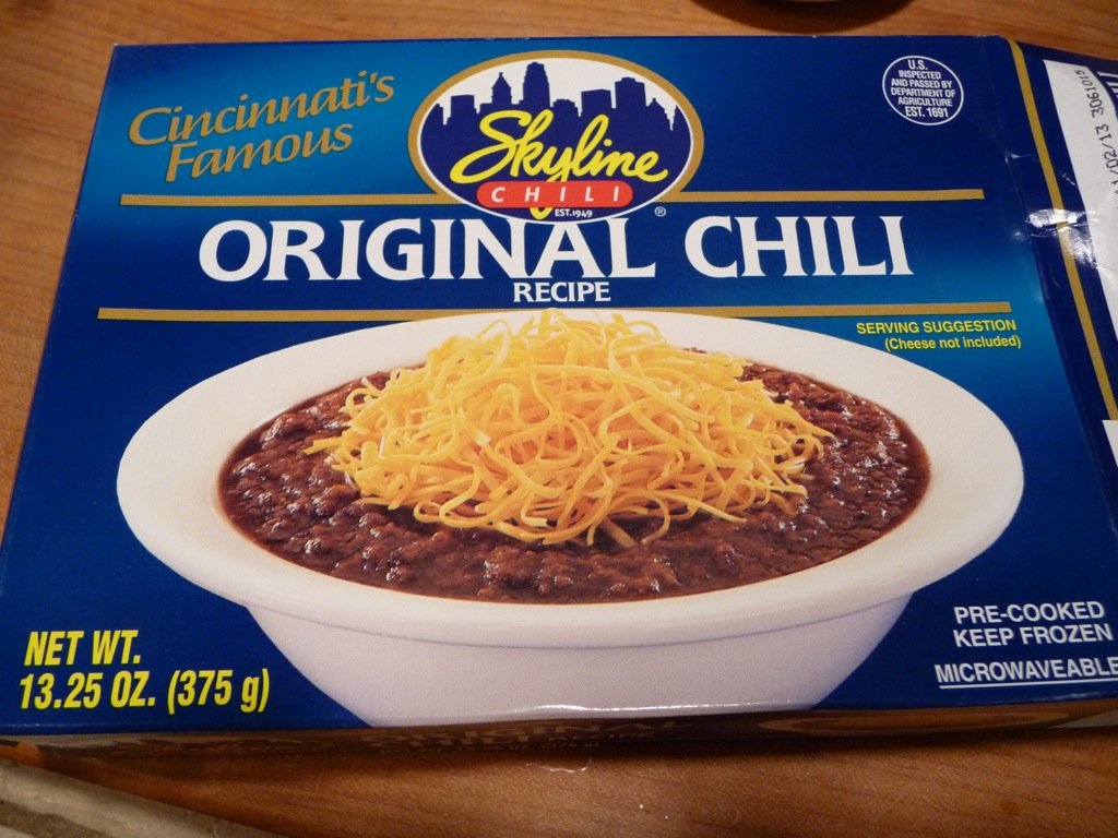 Skyline Chili Original Chili Cincinnati's famous. Search. Menu. Navigation Harris Teeter Grocery Frozen Frozen Entrees Meat Entrees. Harris Teeter > Grocery > Frozen > Frozen Entrees > Meat Entrees > Original Chili Close this window. Enter Zip Code(Optional) Click the store of your choice to purchase Skyline Chili Original Chili: Brand: Skyline Chili.