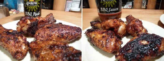 dry rubbed bbq wings and  bbq sauce wings