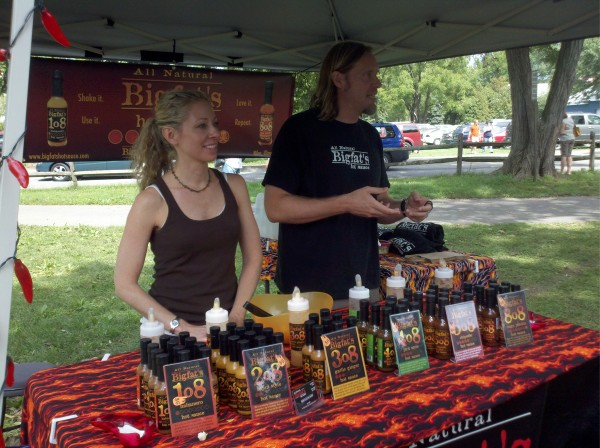 Jeremy and Kat Walsh of Bigfat's Hot Sauce at Bowers PA