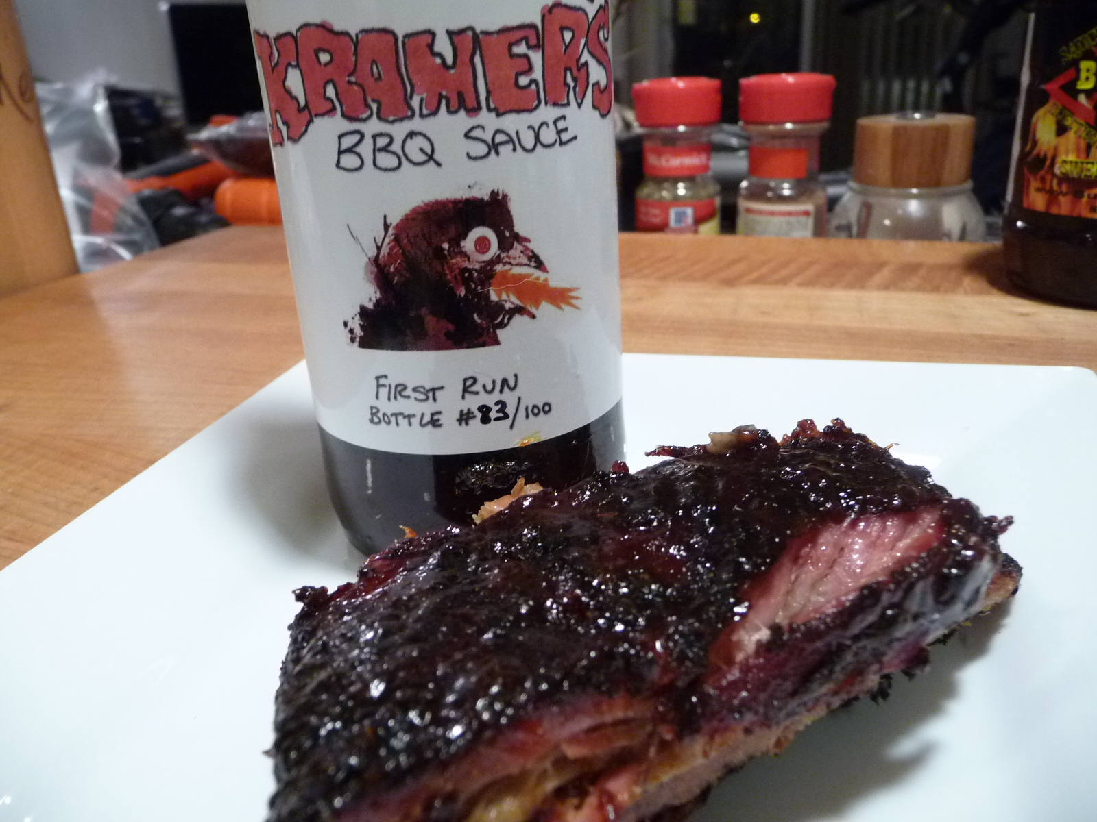Beautiful set up and glaze on the ribs from Kramer's BBQ Sauce