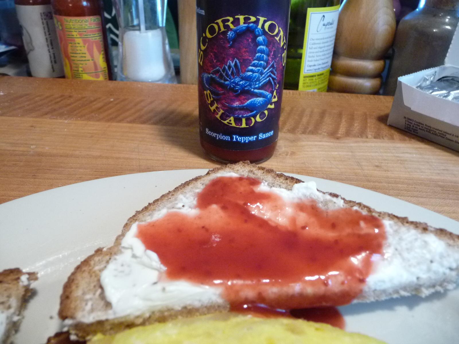 Scorpion's Shadow on cream cheese toast