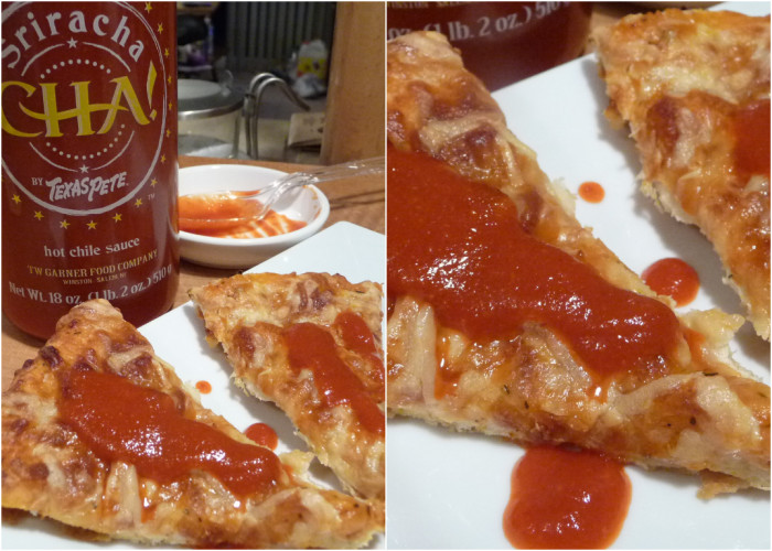 texas pete cha sriracha on pizza