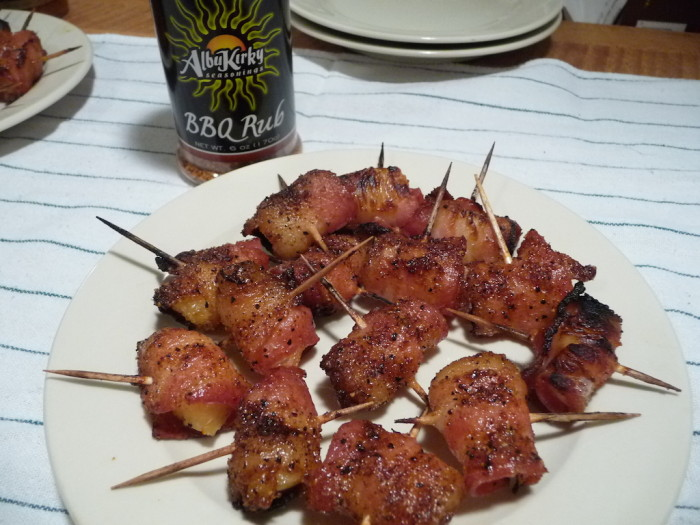 bbq rub dusted bacon wrapped pineapple bites appetizer