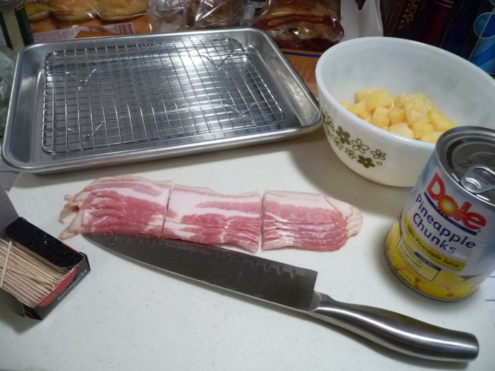 ingredients for bacon wrapped pineapple bites appetizer