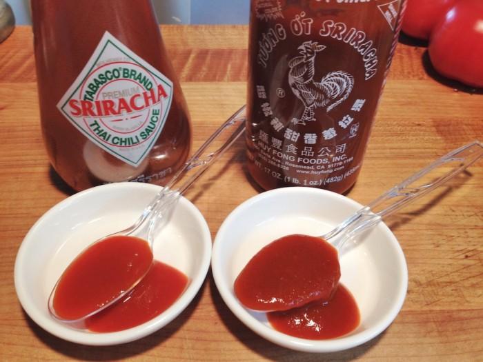 Tabasco Sriracha with Huy Fong Sriracha