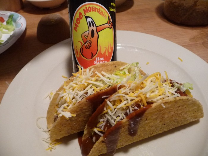 Moe Mountain Hot Sauce on tacos