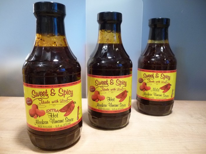 Sweet & Spicy Alaskan Umami Sauces in big bottles
