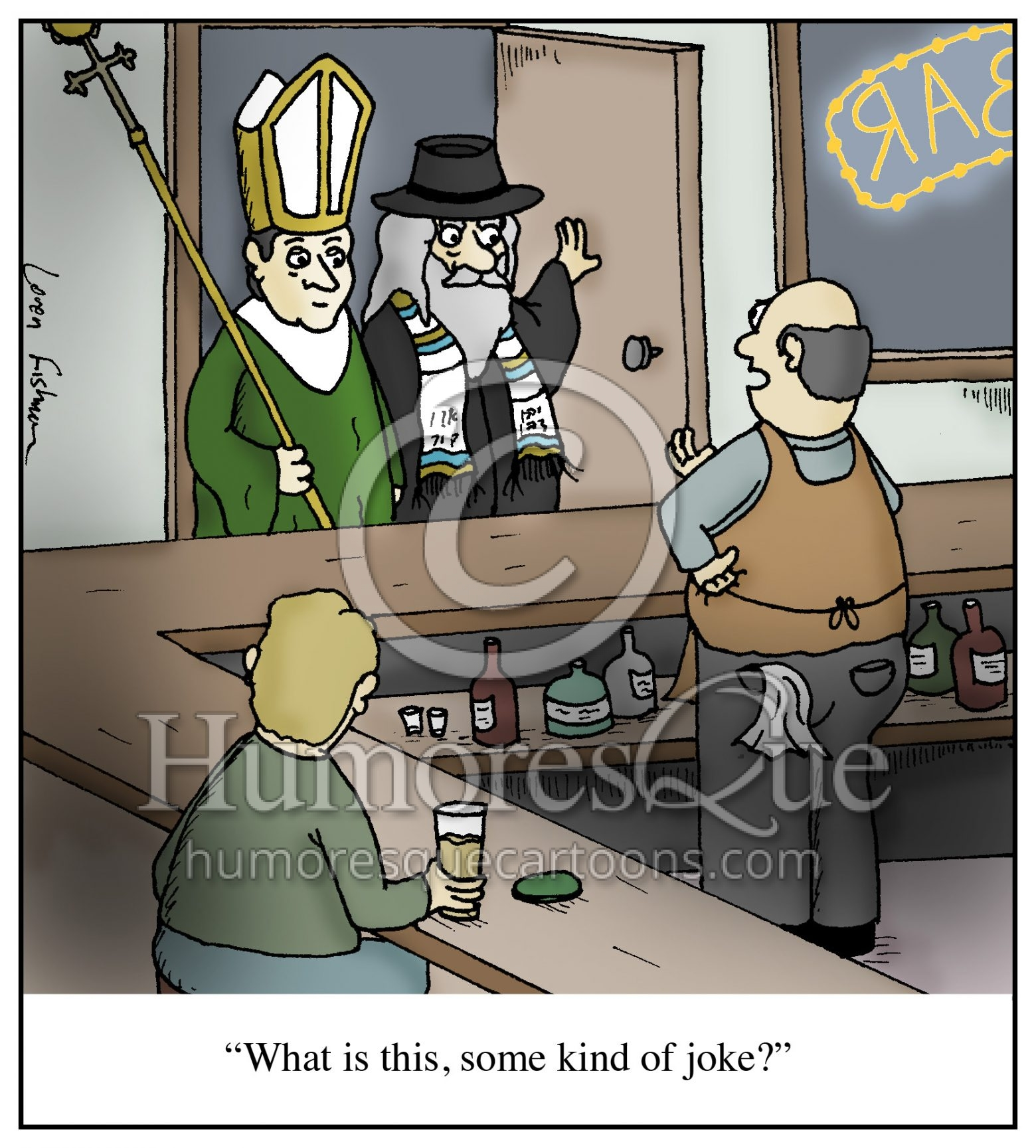 pope and rabbi walk into a bar joke cartoon