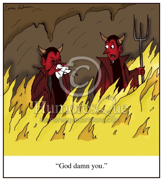 god damn you devil sneeze cartoon