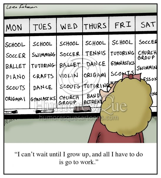 overscheduled kid with activities after school cartoon