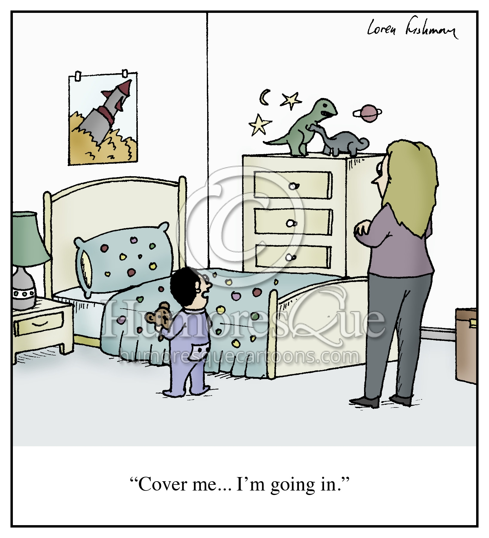 tucking in with bear cover me kid cartoon
