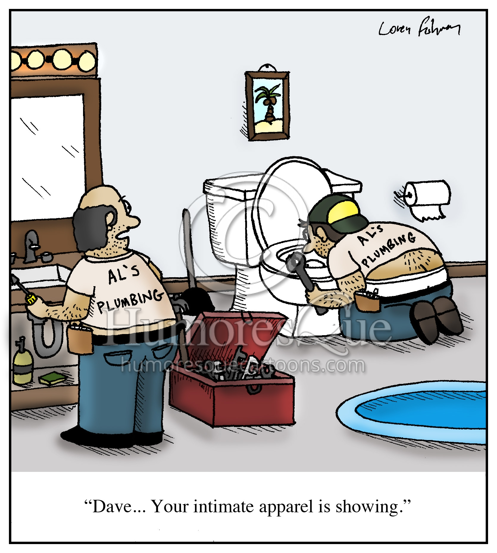 intimate apparel plumber butt crack cartoon