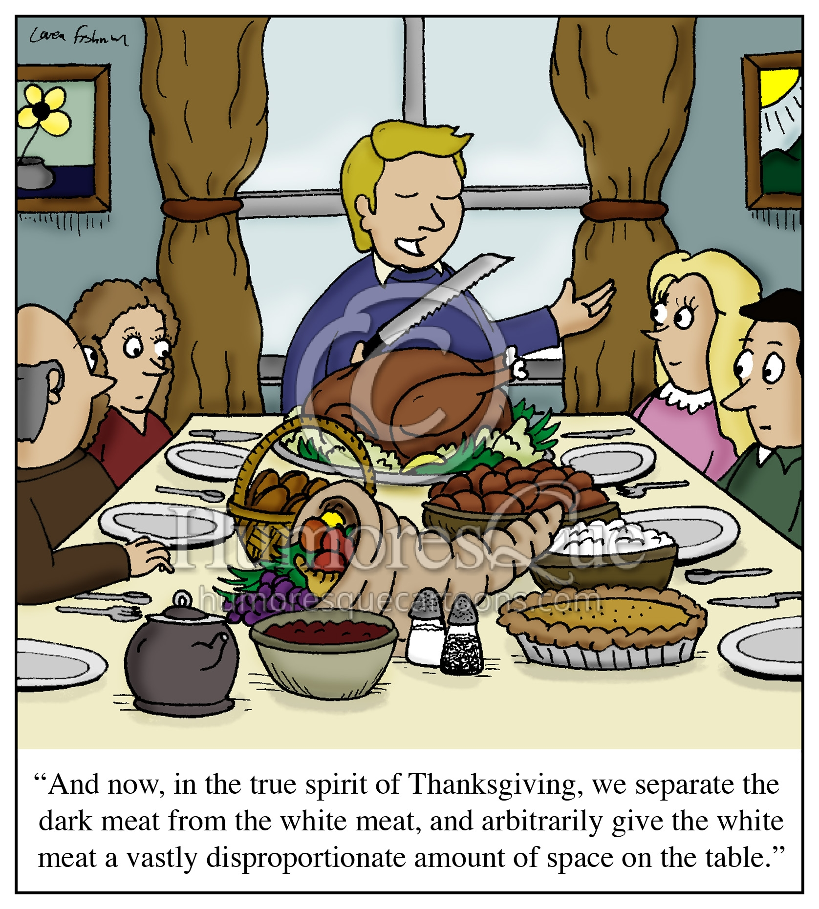 separate dark meat from white meat thanksgiving cartoon