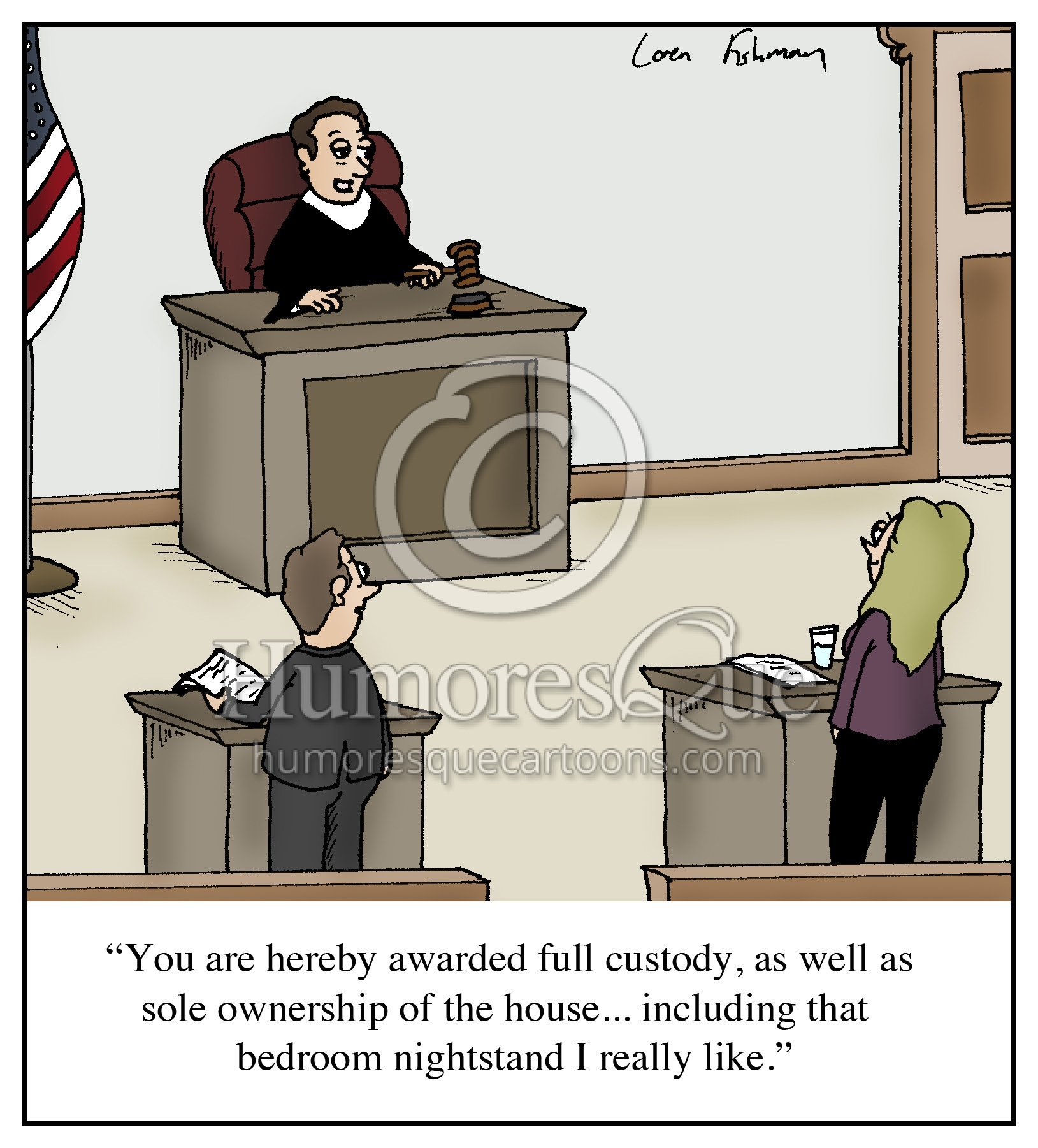 divorce court sleeping with judge cartoon