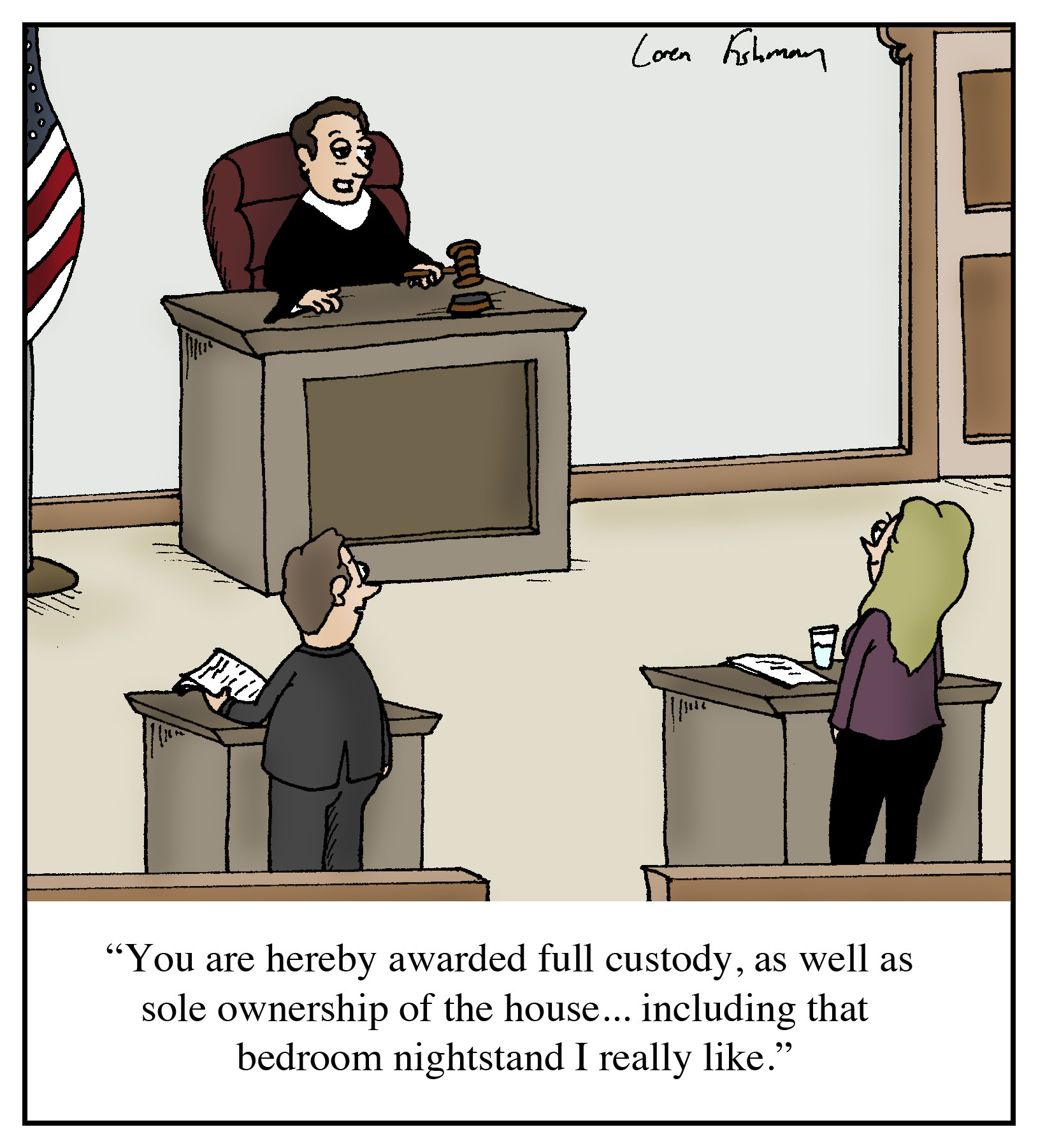 """Divorce Court Records: Cartoon: """"You Are Hereby Awarded Full Custody, As Well As"""