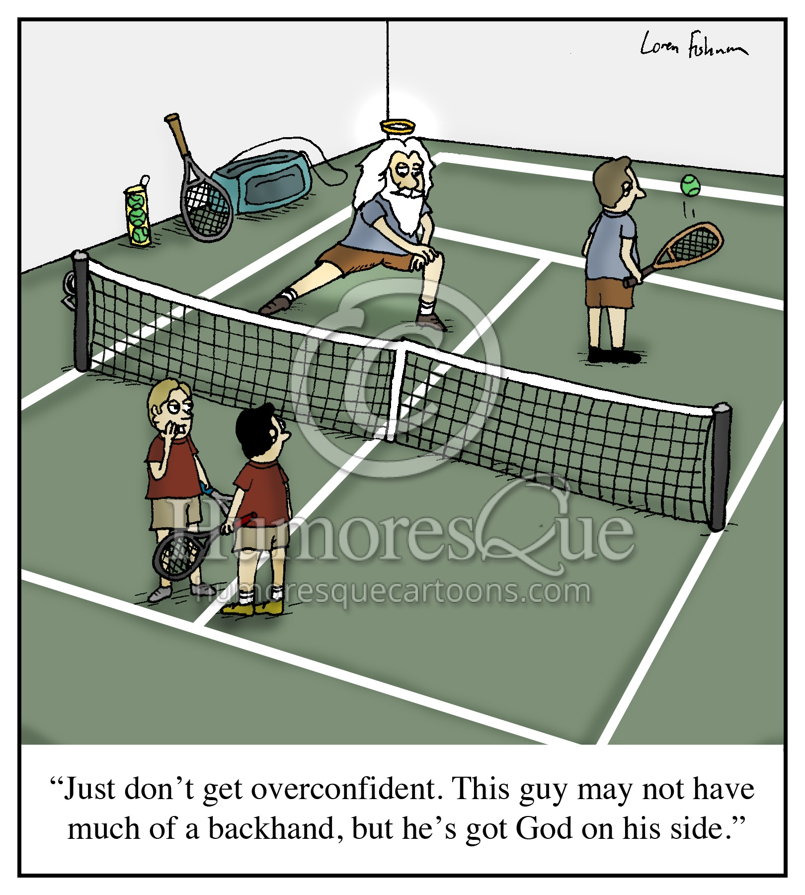 tennis player with god on his side tennis cartoon