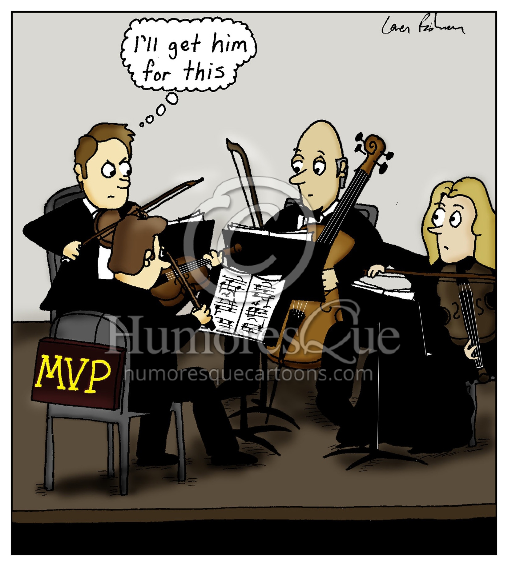 string quartet mvp first and second violinist cartoon