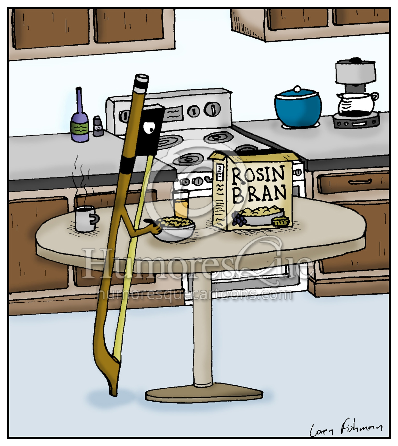 rosin bran bow eating rosin cereal strings cartoon