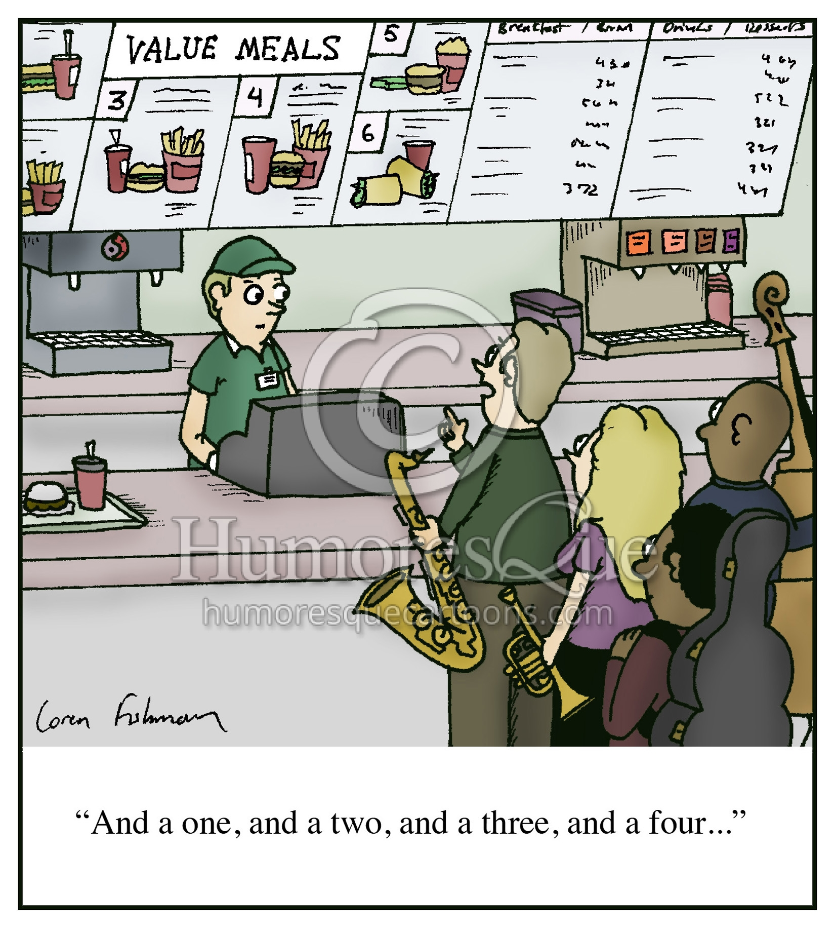 jazz combo meal one two three four cartoon