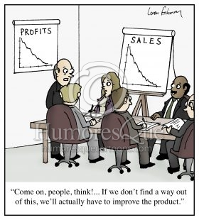 improve the product sales marketing and pr cartoon