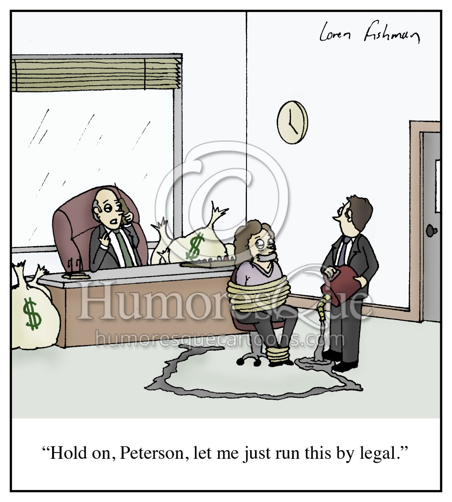 legal department corporate crime and corruption cartoon