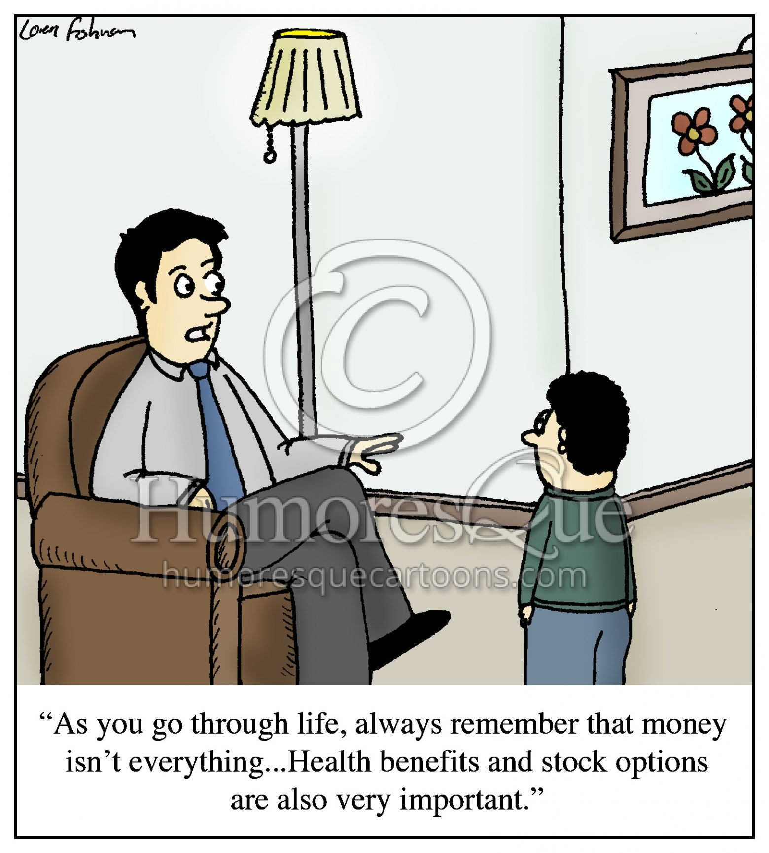 health benefits and stock options father advice cartoon