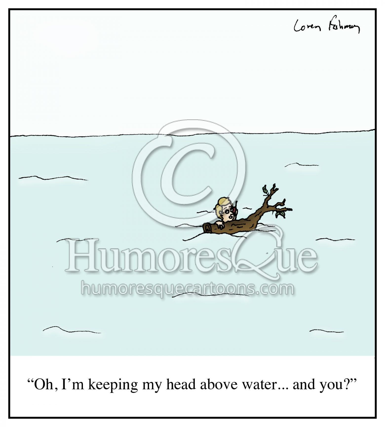 head above water debt financial trouble water cartoon