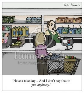 customer service have a nice day small talk conversation cartoon